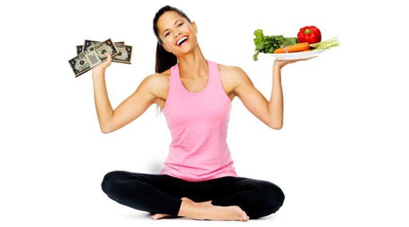 Girl with healthy body, food and pocketbook