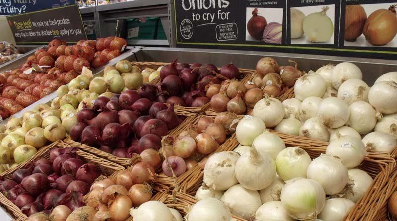 different varieties of onions in store bin
