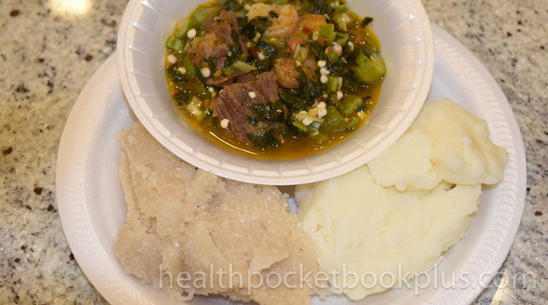 garri okro soup pounded yam