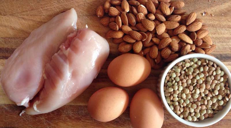 chicken, eggs and nuts